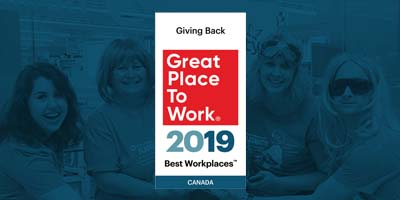 Great Place to Work, 2019 Giving Back Award graphic