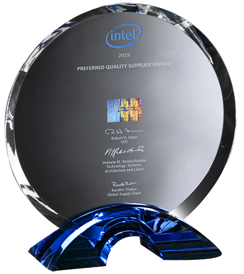 Intel Preferred Quality Supplier Award 2019 trophy photo