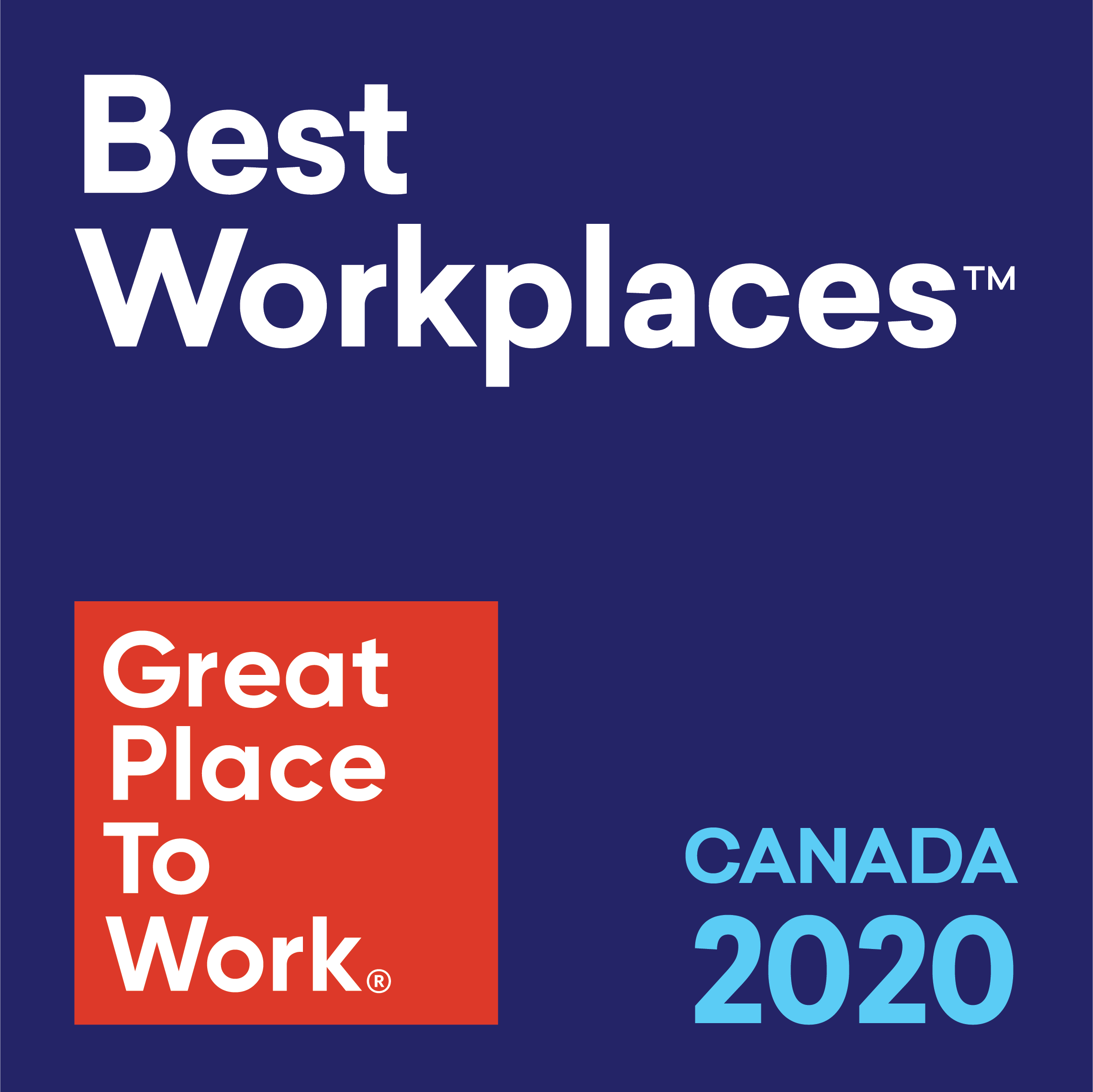Great Place to Work, Best Workplaces 2020 award graphic