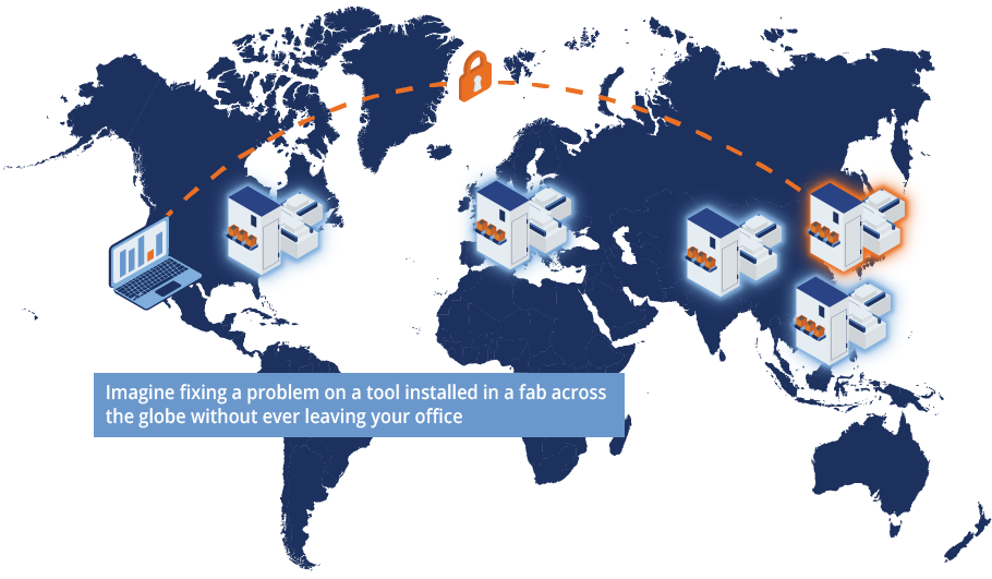 Graphic of world map showing remote connectivity capabilities