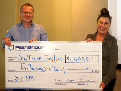 PEER Group donating $10,020 to Send'em Off Smiling